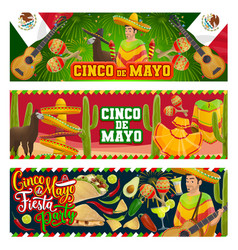 Cinco de mayo mexican party mariachi with guitar vector
