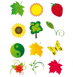 collection of elements of nature vector image
