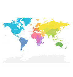 Colorful map of world doivided into regions vector