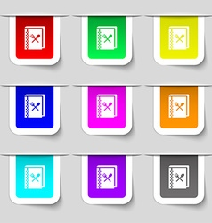 Cook book icon sign Set of multicolored modern vector