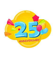 cute cartoon template 25 years anniversary vector image