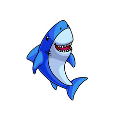 cute colorful blue grey shark laughs with open vector image