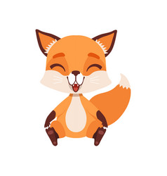 Cute happy fox character sitting on the floor vector