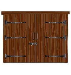 Dark wood barn door vector