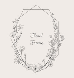 Delicate floristic geometric frame vector