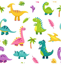 dinosaur seamless pattern cartoon cute baby dino vector image