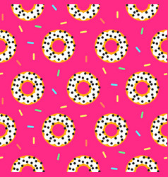 doughnut white on pink sweet seamless pattern vector image
