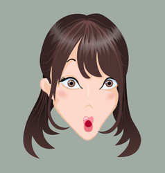 Emoticon asia girl shock vector