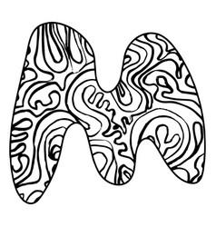 Entangle stylized alphabet - letter m black vector