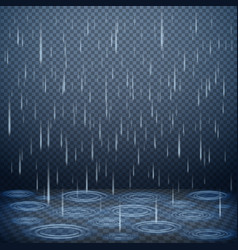 Falling rain realistic background vector