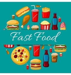 Fast food meal icons for emblem design vector image