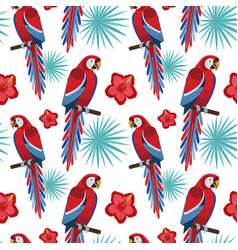 flat design red macaw parrot seamless pattern vector image