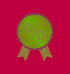 flat shading style icon discount ribbon vector image