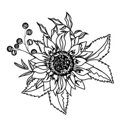flower with leaves drawing vector image