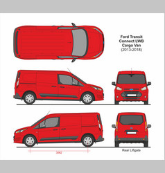 Ford transit connect lwb cargo 6 doors 2013-2018 vector