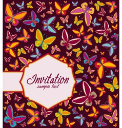Frame with background of butterflies invitation vector image