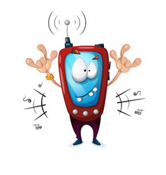 funny cute crazy smartphone characters music vector image