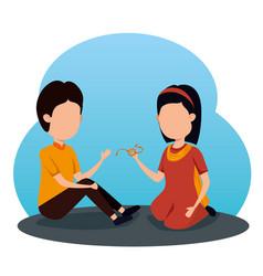 Girl and boy siblings hindu event vector
