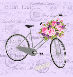 Gray bicycle with a basket full of flowers vector