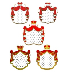 Heraldic red royal mantles set vector image
