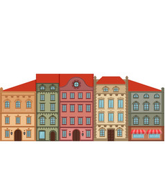 Houses old european city street with colored vector