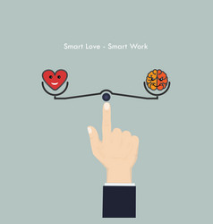 Human hand with heart sign and brain iconsmart vector