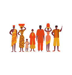 isolated diverse african people group vector image