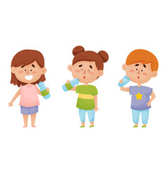 Kid characters standing and drinking still mineral vector