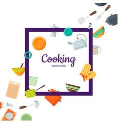 kitchen utensils flat icons vector image