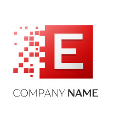 letter e logo symbol in the colorful square with vector image