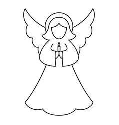 Line art black and white christmas angel vector