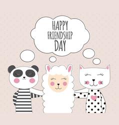 little cute llama panda and cat best friend vector image