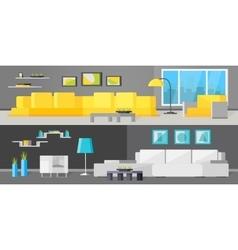 Living Room Interiors Orthogonal Banners vector