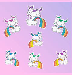 Magic unicorn patches trendy different colors vector