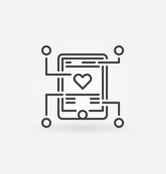 Mobile app development outline icon or sign vector