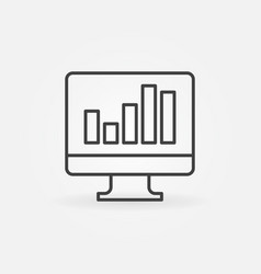 monitor with business graph outline concept vector image