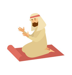 Muslim man in traditional clothes on rag prays vector