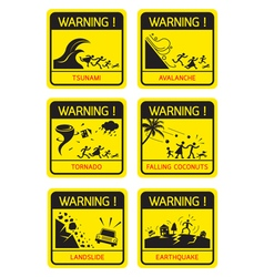 Natural Disaster Warning Signs Family Running vector