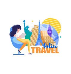 online travel woman chooses tourist destination vector image