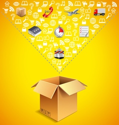 Opened parcel box and many logistics icons falling vector