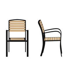 Outdoor wooden chair vector