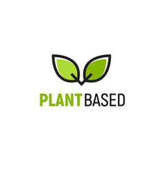 plant based vegan badge eco icon suitable vector image