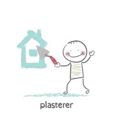 plasterer paints cement house vector image