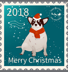 Postage stamp with chihuahua 1 vector
