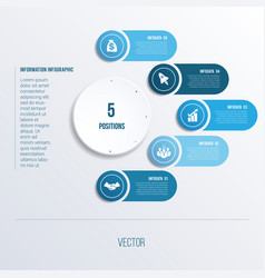Process chart template for presentation 5 option vector