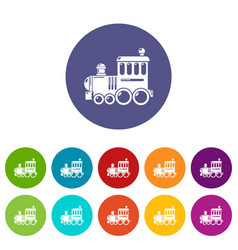 Railroad icons set color vector