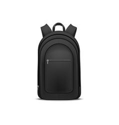realistic detailed 3d black blank school backpack vector image
