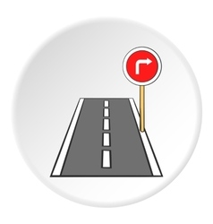 Road sign right turn icon cartoon style vector