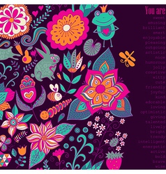 Romantic doodle floral card with nice wishes also vector