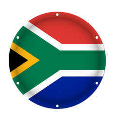 Round metallic flag of south africa screw holes vector